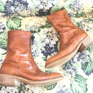 Dingo Cowboy Leather Ankle Boots Zipper Size 9.5D